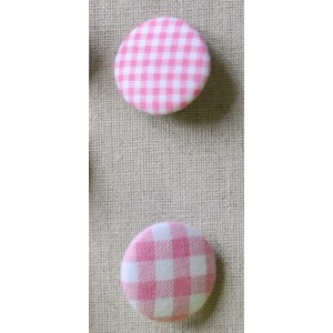 "Bouton tissu ""Rose Vichy"""