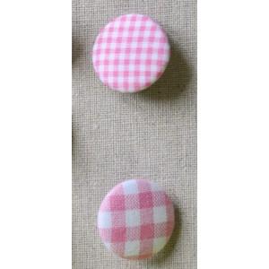 "Bouton tissu ""Rose mini Vichy"""