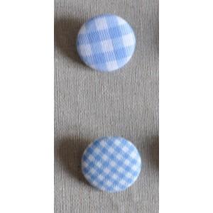 """Bouton tissu """"Bleu mini Vichy"""""""