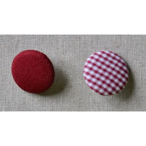 "Bouton tissu ""Bordeau mini Vichy"""