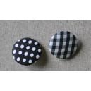 "Bouton tissu ""Noir mini Vichy"""