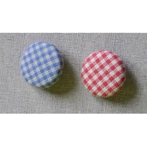 "Bouton tissu ""Bleu/Beige mini Vichy"""