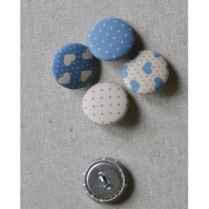 """Bouton tissu """"Bleu pois Beiges"""""""