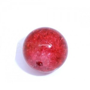 3 Perles craquelées en verre rouge diam 12mm    (lot de 3)