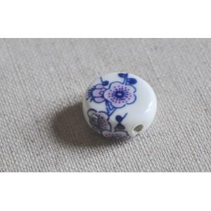 Perle Blanche Fleurs Violettes en Céramique diam 16mm