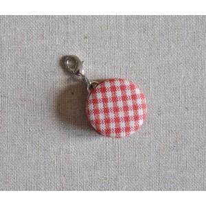 Macaron en tissu rouge vichy, diam 24mm