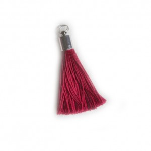 pompon embout métal : rouge DMC 498