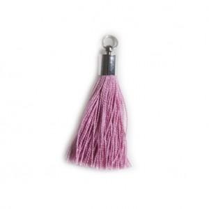pompon embout métal : rose DMC 316
