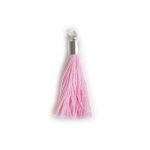 pompon embout métal : rose DMC 3689