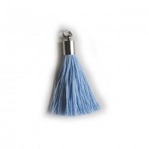 pompon embout métal : bleu DMC 800