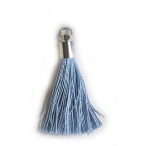 pompon embout métal : bleu DMC 932