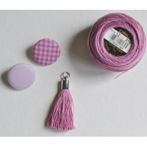 Bouton tissu coloris Rose ancien : mini vichy