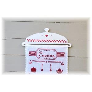 """Cintre en Hêtre """"Bannière Cuisine"""" pour bannière brodée, toise, boutis, etc..."""