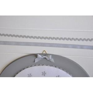 ruban vichy gris - Largeur 10 mm