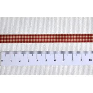 ruban vichy rouge / ecru - Largeur 10 mm