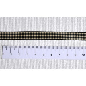 ruban vichy noir / ecru - Largeur 10 mm
