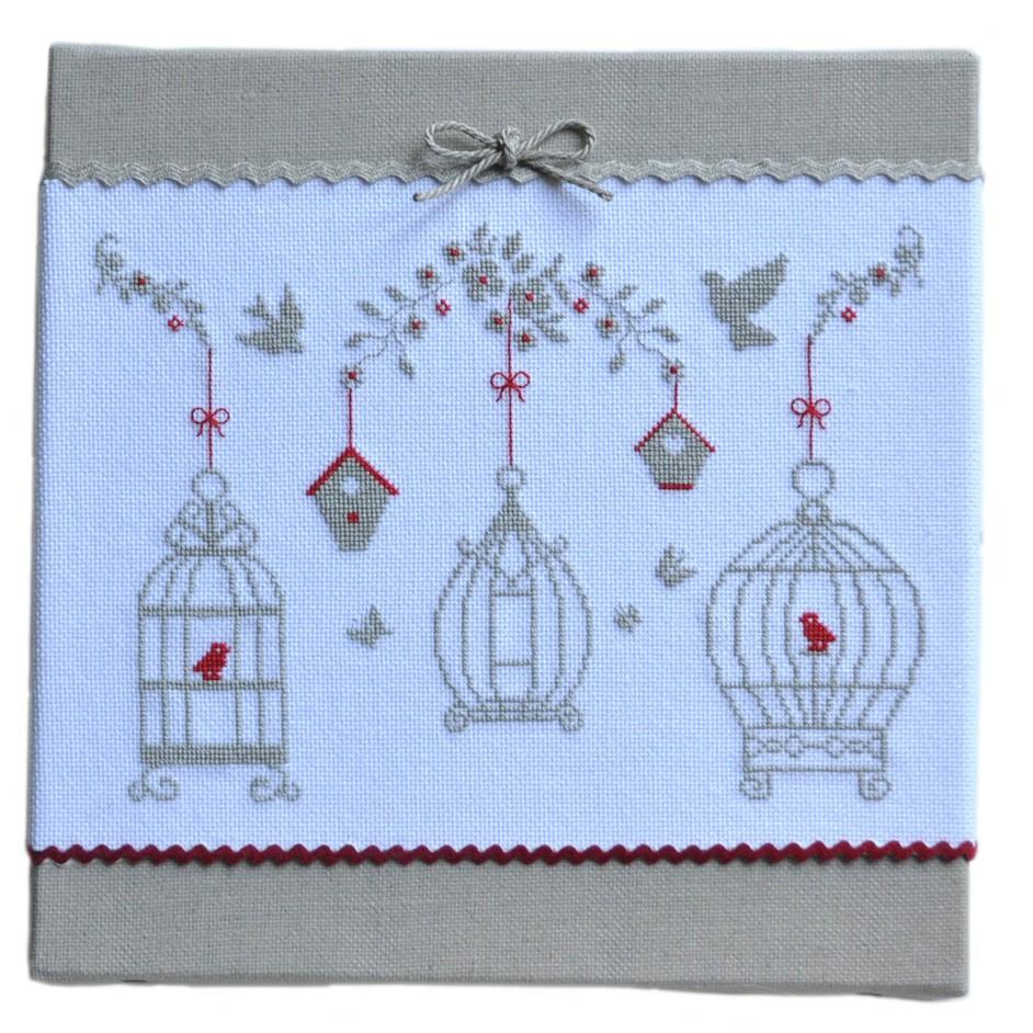 Jardin aux Oiseaux (grille seule) broderie au point de croix - IdéeCréation