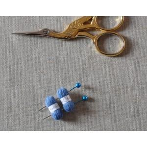 2 Pelotes de laine miniatures + 2 aiguilles assorties, lot bleu 322