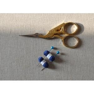 2 Pelotes de laine miniatures + 2 aiguilles assorties, lot bleu marine