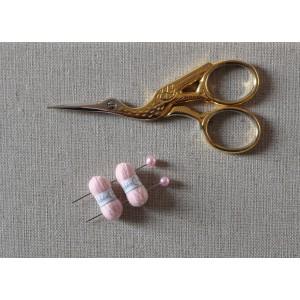 2 Pelotes de laine miniatures + 2 aiguilles assorties, lot rose