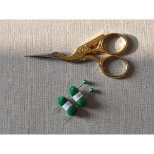 2 Pelotes de laine miniatures + 2 aiguilles assorties, lot vert franc