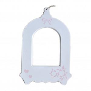 """Cadre blanc en bois Cage à Oiseaux  et motifs """"Roses"""""""