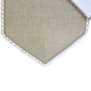 Bande à broder en Lin bis 12 fils bordure blanche