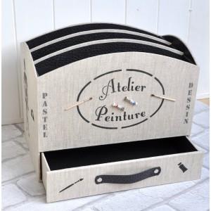 """Fiche cartonnage PDF : """"Boîte De Peinture Peinte"""" avec tiroir"""