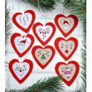 Coeurs de Noël, Décos de Sapin à broder sur lin