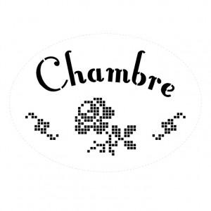 """Pochoir """"Chambre"""" ovale Point de Croix"""