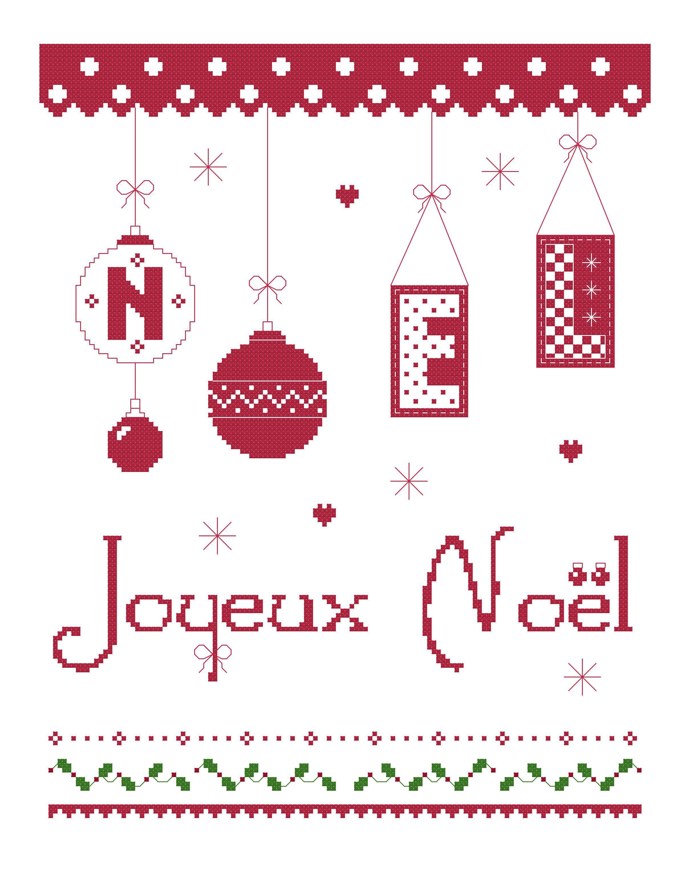 grille gratuite Joyeux Noël à broder au point de croix ...