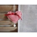 Coeur en coton, vichy rouge
