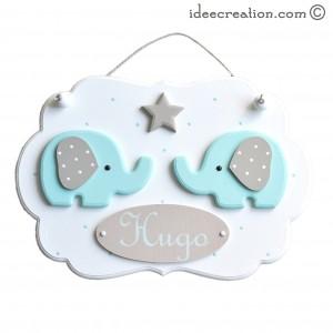 Cadre bebe avec prénom, déco Elephants Verts en bois pour chambre d'enfant