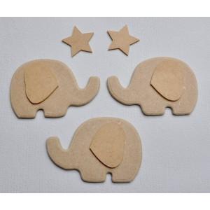 Lot de 3 Elephants + 2 Etoiles en bois brut à peindre et décorer