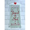 """Bannière """"Coeurs de Noel"""" à broder au point de croix"""