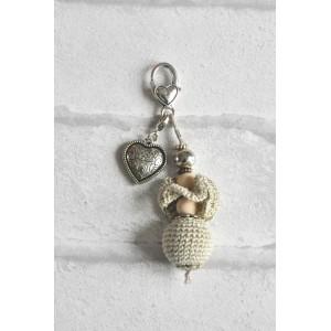 """Bijou de Sac porte clés  """"Beige Perle au crochet"""""""