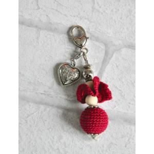 """Bijou de Sac porte clés """"Rouge Perle au crochet"""""""