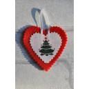 """Coeur de Noël en feutrine et lin blanc """"Sapin"""", déco de sapin"""