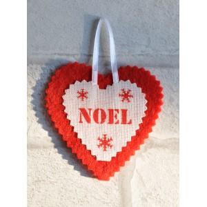 """Coeur de Noël en feutrine et lin blanc """"NOEL"""", déco de sapin"""