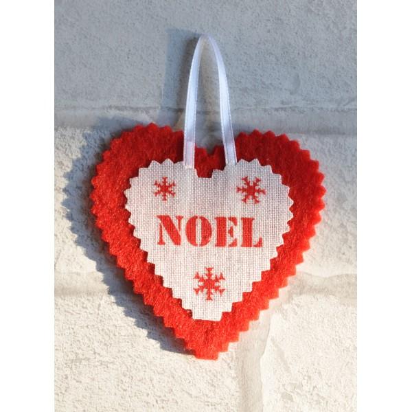 Coeur De Noel En Feutrine Et Lin Blanc Noel Deco De Sapin
