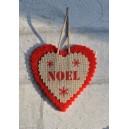 "Coeur de Noël en feutrine et lin naturel ""NOEL"", déco de sapin"