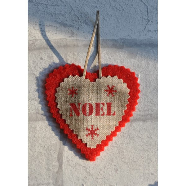 Coeur De Noel En Feutrine Et Lin Naturel Noel Deco De Sapin