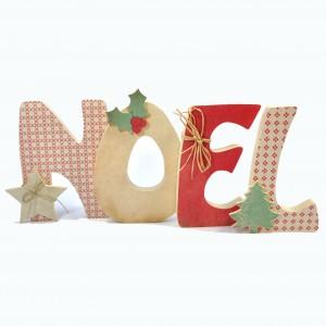 """Lettres """"Noel"""" en Bois et Tissu imprimé"""