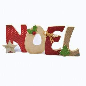 """Lettres """"Noel Rouge à Pois"""" en Bois et Tissu imprimé"""