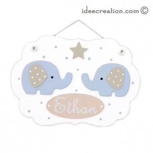 Cadre Nuage déco Elephants Bleus en bois pour chambre de bébé
