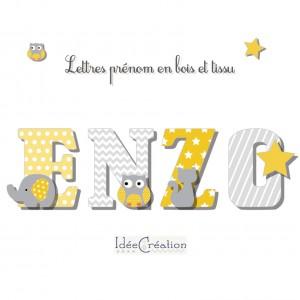 Lettres a poser, lettres prénom en Bois et tissu imprimé pour chambre enfant modèle jaune et gris