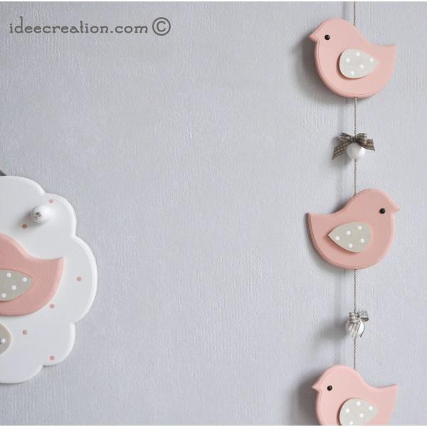 Cadre Prénom Déco Oiseaux Roses Et Guirlande Pour Chambre De Bébé