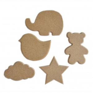 Lot de 5 formes en bois brut à peindre et décorer pour enfants
