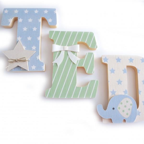Lettres pr nom en bois et tissu imprim pour chambre de - Lettre pour chambre de bebe ...