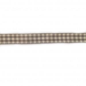 Ruban vichy gris et beige, largeur 15 mm